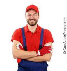 happy smiling handyman isolated on white background
