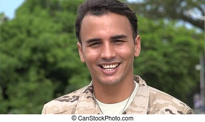 Happy Smiling Hispanic Male Soldier