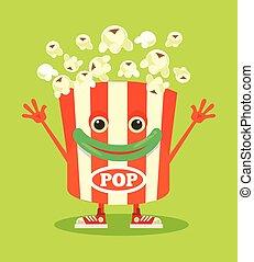 Happy smiling isolated pop corn box character mascot. Vector flat cartoon illustration