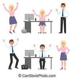 Happy, smiling, jumping young eyeglasses man and woman vector illustration. Hopping, hands up, having fun at office workplace boy and girl cartoon character set