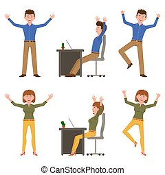 Happy, smiling, jumping young office man and woman vector illustration. Hopping, hands up, having fun, sitting side view at table boy and girl cartoon character set