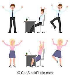 Happy, smiling, jumping young office man and woman vector illustration. Hopping, hands up, having fun, sitting side view at desk boy and girl cartoon character set