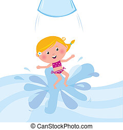 Happy smiling kid jumping from water slide tube / aqua park...