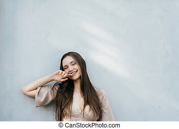 Happy smiling laughing young lady isolated portrait,outdoor