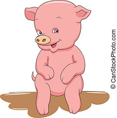 Happy Smiling Little Baby Pig vector illustration