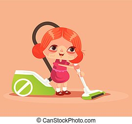 Happy smiling little girl character helping mother and cleaning house floor with vacuum. Housekeeping concept isolated flat cartoon graphic design illustration