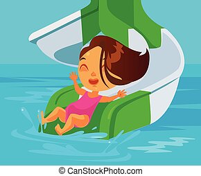 Happy smiling little girl riding waterslide at aqua park. Vector flat cartoon illustration