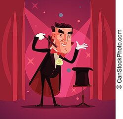 Happy smiling magician wizard character shows focus. Vector flat cartoon illustration