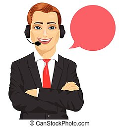 happy smiling male customer support phone operator with arms folded and speech bubble