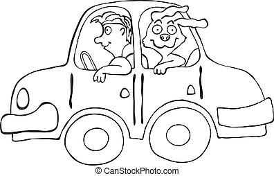 Happy smiling man an dog in cartoon car, vector illustration