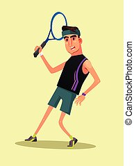 Happy smiling man gamer character play tennis. Vector flat cartoon illustration