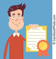 Happy smiling man student character holding certificate...