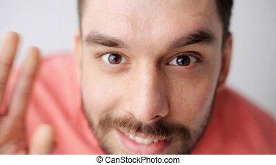 happy smiling man with beard having fun at camera - emotion,...