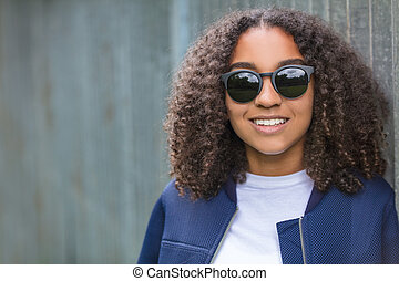 Happy Smiling Mixed Race African American Teenager Woman In Sunglasses