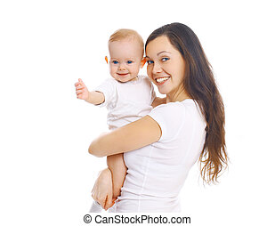 Happy smiling mother hugging baby on white background