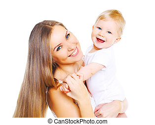 Happy smiling mother playing with baby on white background