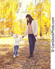 Happy smiling mother walking with child in sunny autumn day