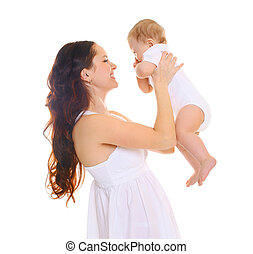Happy smiling mother with baby on a white background