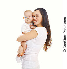 Happy smiling mother with baby on white background
