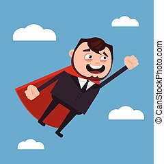 Happy smiling office worker businessman character. Vector flat cartoon illustration