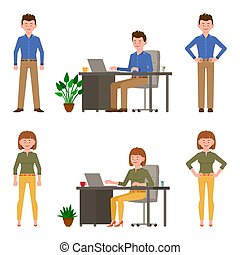 Happy, smiling office worker man and woman vector ...