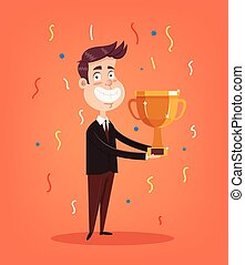 Happy smiling office worker man character winner holding golden cup. Vector flat illustration
