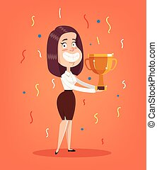 Happy smiling office worker woman character winner holding golden cup. Vector flat illustration