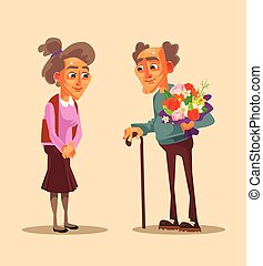Happy smiling old people date. Vector flat cartoon illustration