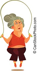 Happy smiling old woman grandma doing exercise workout fitness. Active healthy lifestyle retirement cartoon flat isolated illustration