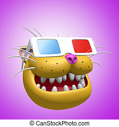 Happy smiling orange cat head in 3d glasses. 3D illustration.