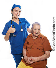 happy smiling patient with nurse