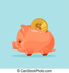 Happy smiling piggy bank character with gold coin. Vector flat cartoon illustration