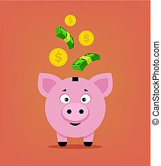 Happy smiling piggy bank character with money. Vector flat cartoon illustration