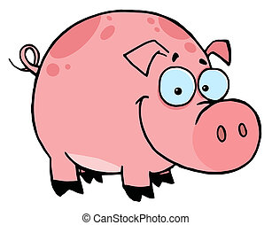 Happy Smiling Pink Pig With Spots Cartoon Character