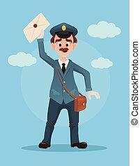 Happy smiling post man character hold envelope. Vector flat cartoon illustration