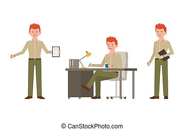 Happy, smiling, red hair young office guy in green pants vector illustration. Standing with notes, writing at the table, sitting side view boy cartoon character set
