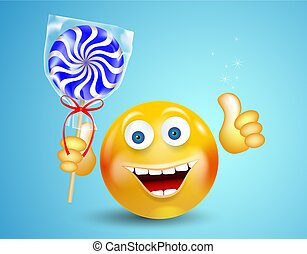 Happy smiling round face holding sweet candy lollipop and showing thumb up on bright blue background. Cartoon character. Icon