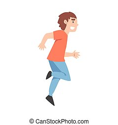Happy Smiling Running Boy Cartoon Style Vector Illustration on White Background