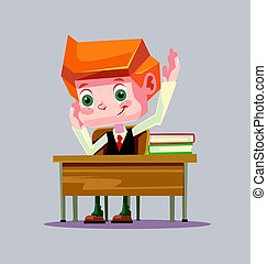 Happy smiling school boy character raising hand. Vector flat cartoon illustration