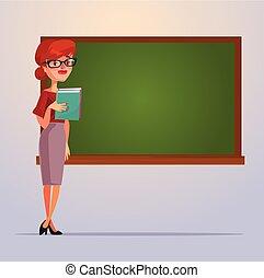 Happy smiling school teacher woman character. Vector flat cartoon illustration