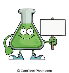 Happy smiling science beaker cartoon character