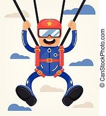 Happy smiling screaming crazy brave skydiver man character jumping flying soaring in air sky. Active extreme danger parachute skydiving hobby sport concept. Vector flat cartoon graphic design isolated illustration