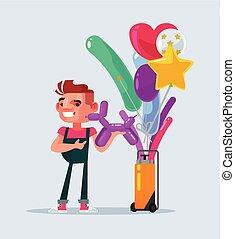 Happy smiling seller man character sales balloons. Vector flat cartoon illustration