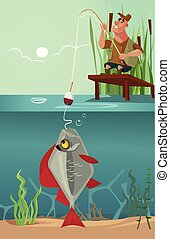 Happy smiling sitting fisherman character pull big huge enormous fish on fishing pole hook bite from lake. Fishing hobby recreation sport nature concept. Vector flat cartoon graphic design illustration