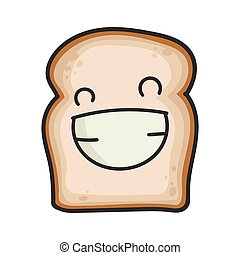 Happy smiling slice of bread cartoon illustration