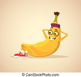 Happy smiling sport banana character work out abs. Vector...