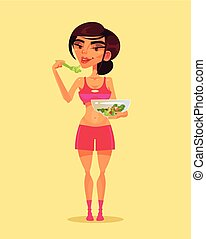 Happy smiling sport fitness woman character eating green salad. Healthy lifestyle flat cartoon illustration graphic design concept element