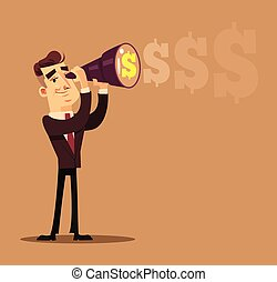 Happy smiling successful businessman office worker character looking telescope through future. Business success money profit career concept flat cartoon design graphic isolated illustration