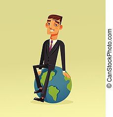 Happy smiling successful businessman office worker character sitting on planet Earth. Vector flat cartoon illustration