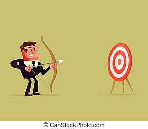 Happy smiling successful businessman office worker entrepreneur manager aim point and shoot arrow bow target direction center. Opportunity start up achievement new business investment market competition concept. Vector flat cartoon isolated illustration graphic design